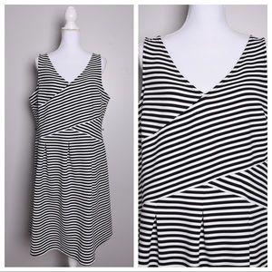 Lane Bryant Black White Striped Sleeveless Dress